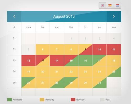 Availability Booking Calendar - Calendars hot php scripts